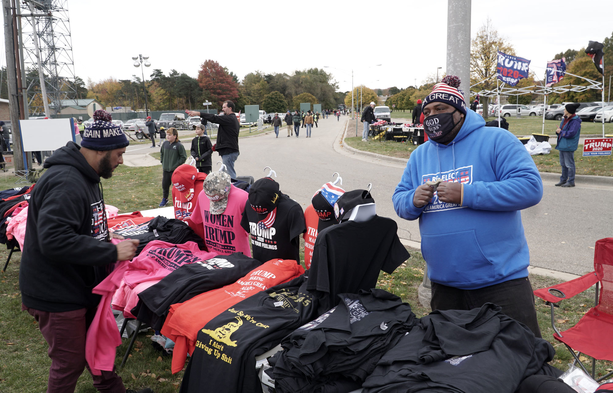 Trump swag for sale outside the Oct. 17 rally at Muskegon County Airport (Mark Gollom/CBC)