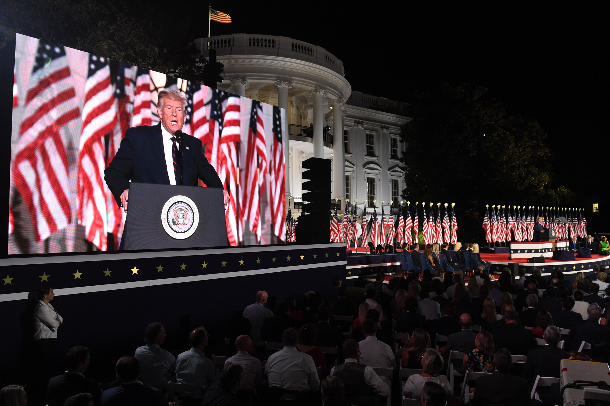 Trump accepted the 2020 Republican presidential nomination on the grounds of the White House. (Saul Loeb/AFP/Getty Images)