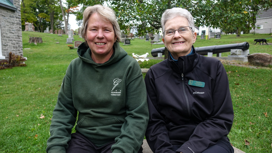 Helma Oonk, left, and Sandra Latchford, right, worked together to bring green burials to Glenwood Cemetery. (Ash Abraham/CBC)