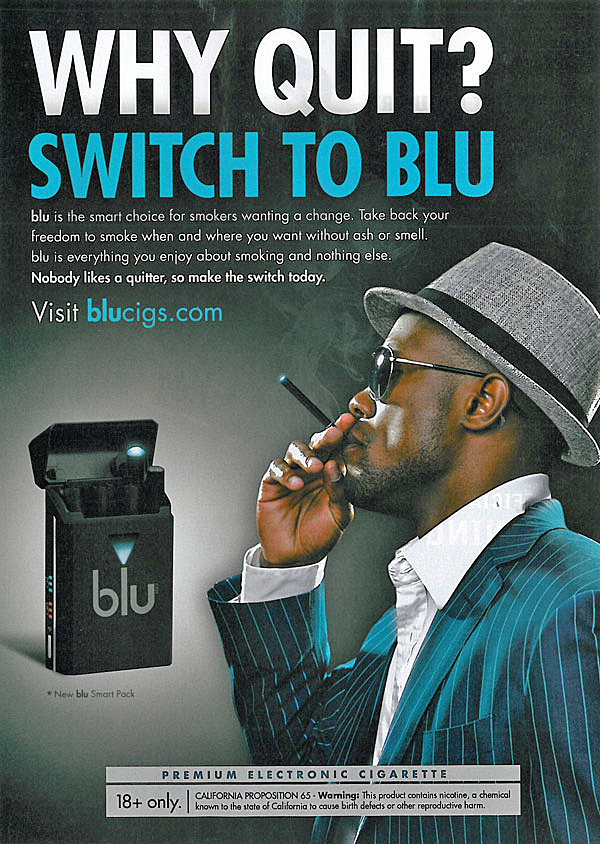 Researcher Charlotta Pisinger compares ads like this 2011 one for Blu e-cigarettes to the earlier endorsement of 'light' cigarettes by tobacco companies.