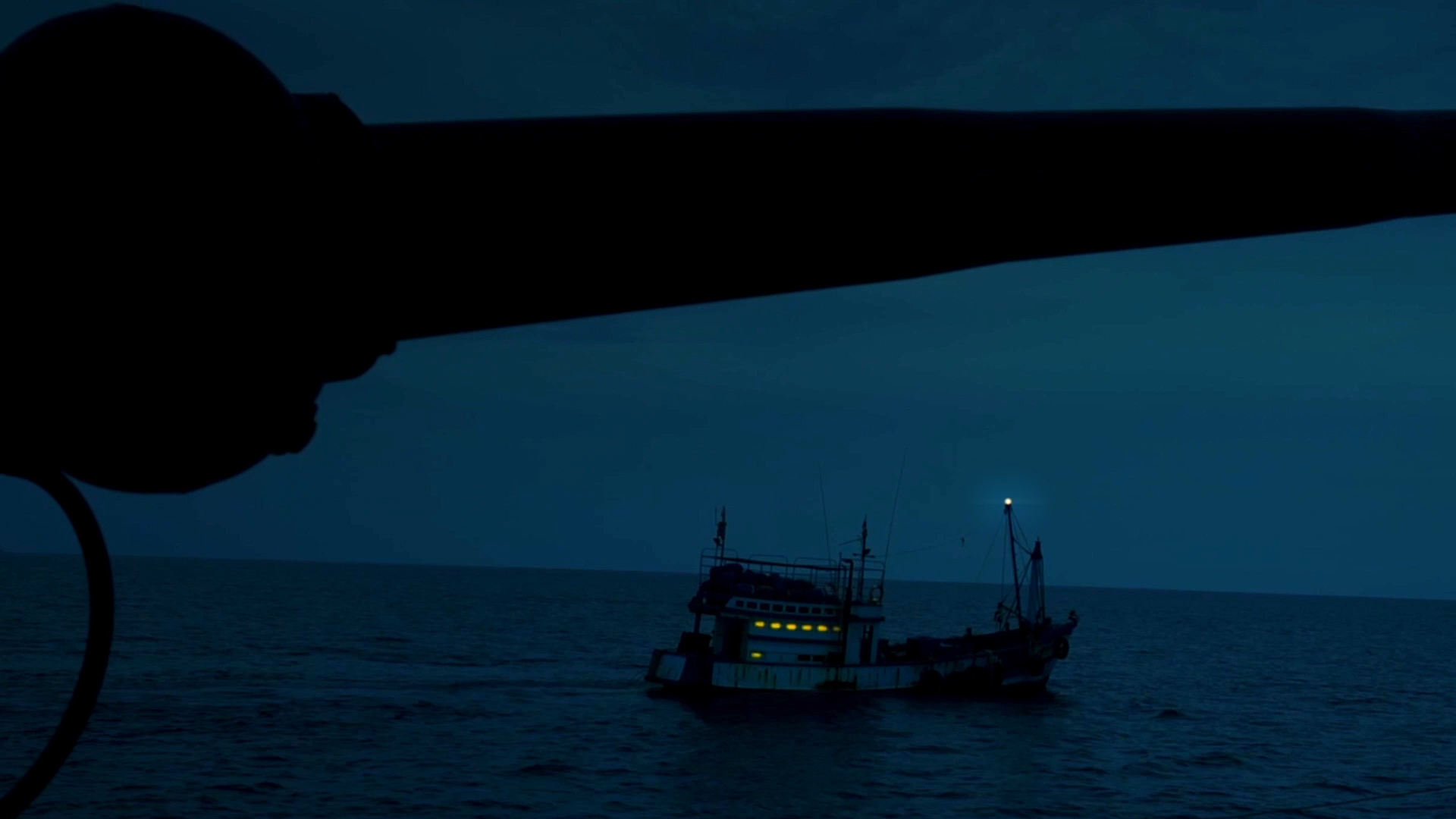Chinese squid ships will often use bright lights to attract their catch. (South Korea Fisheries Agency/The Outlaw Ocean Project)