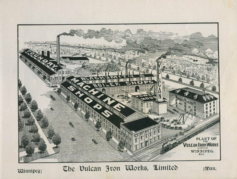 An illustration of the Vulcan Iron Works, which was a factory where workers fought for years for better conditions, pay and union representation. (Illustrated souvenir of Winnipeg and Dominion of Canada Exhibition)