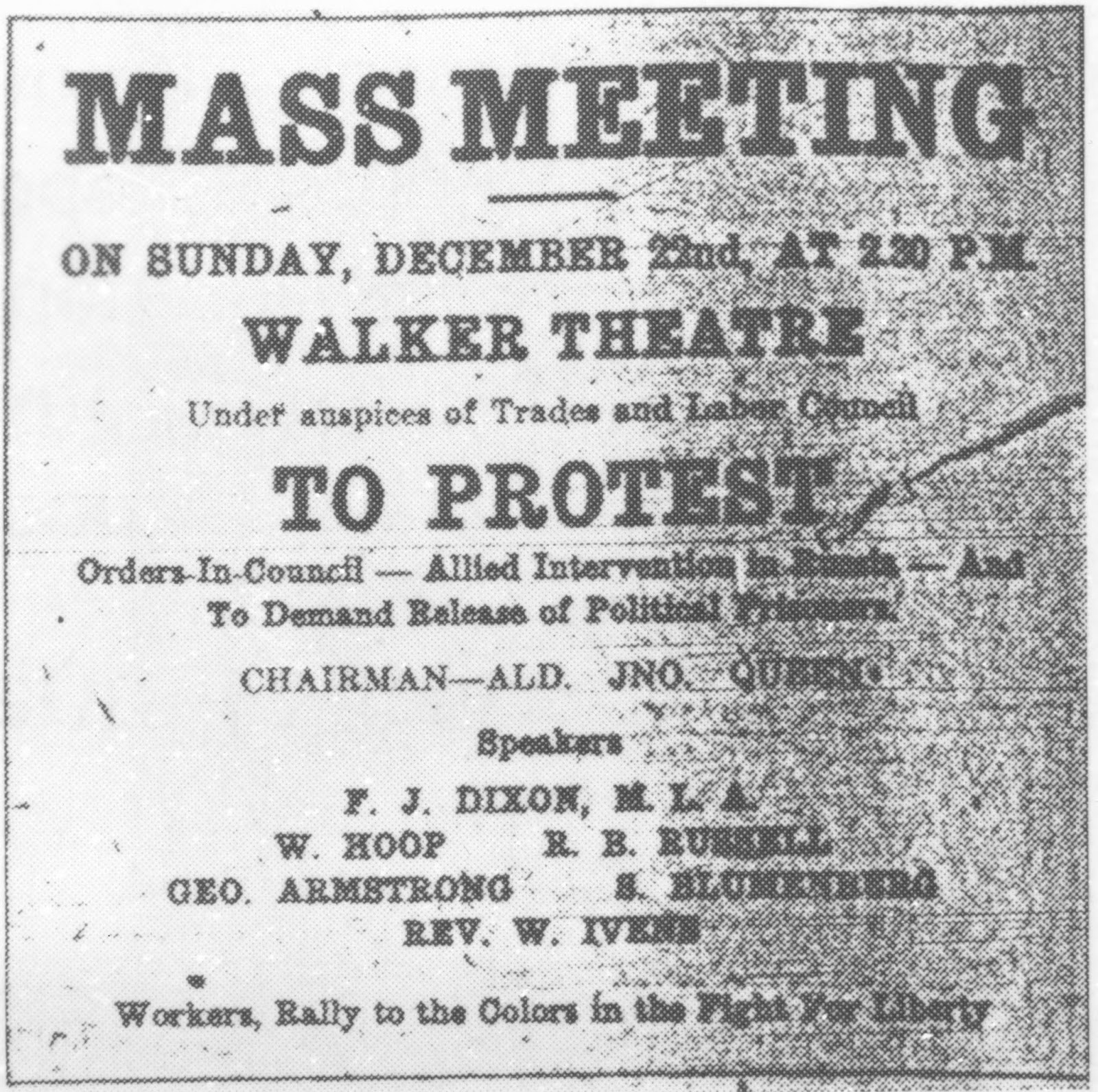 Labour leaders in Winnipeg held an assembly at the Walker Theatre in December 1918 where they decried capitalism. (Heritage Winnipeg)