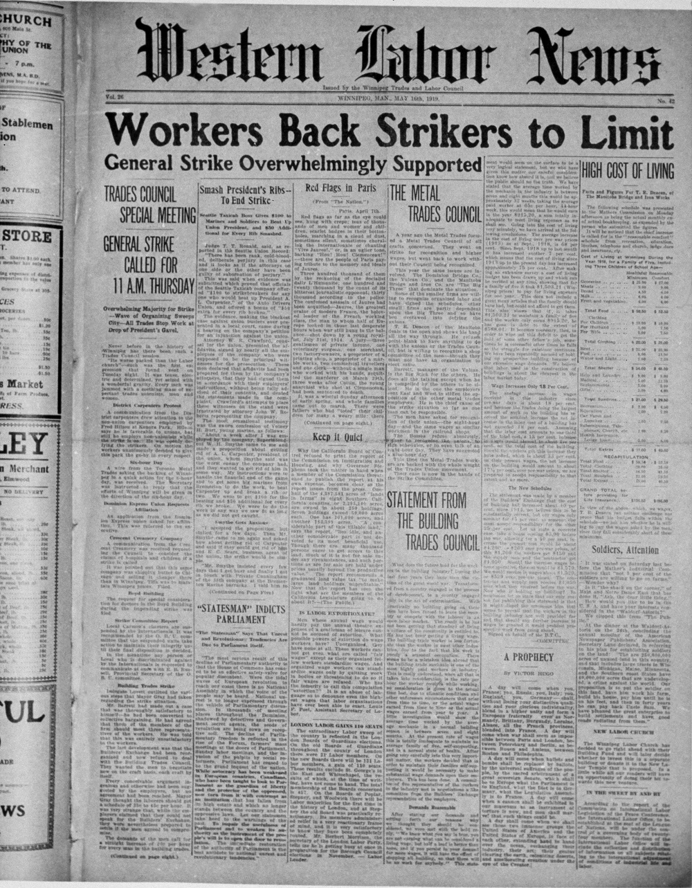 The front page of the Western Labour News on May 16, 1919, trumpets the overwhelming support for a general strike, while another article talks about the high cost of living. (Archives of Manitoba)